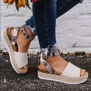 Shoes - Snake print open toe espadrille